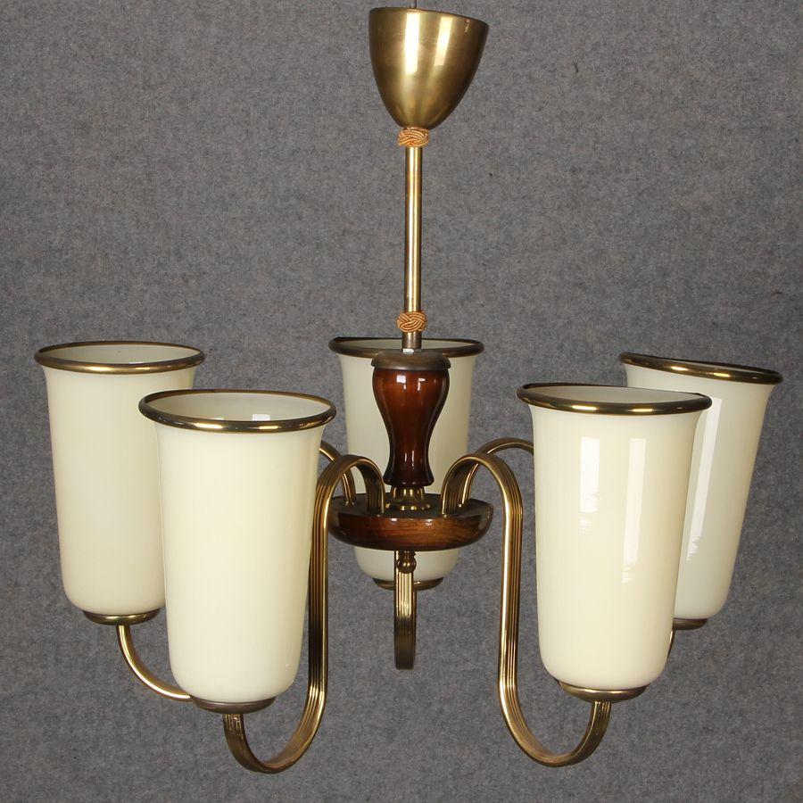 Art deco lampe mit 5 tulpen lampenschirm ebay for Art deco lampe