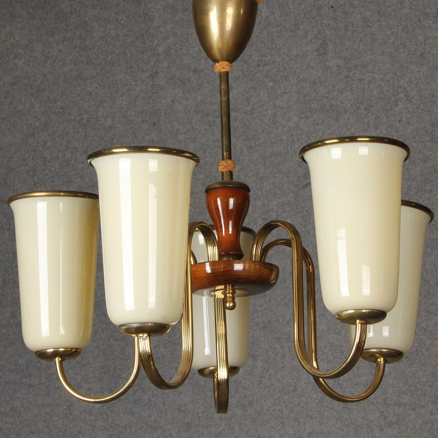 art deco lampe mit 5 tulpen lampenschirm ebay. Black Bedroom Furniture Sets. Home Design Ideas