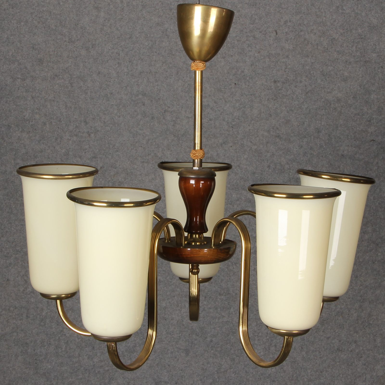 art deco lampe mit 5 tulpen lampenschirm ebay. Black Bedroom Furniture Sets. Home Design Ideas
