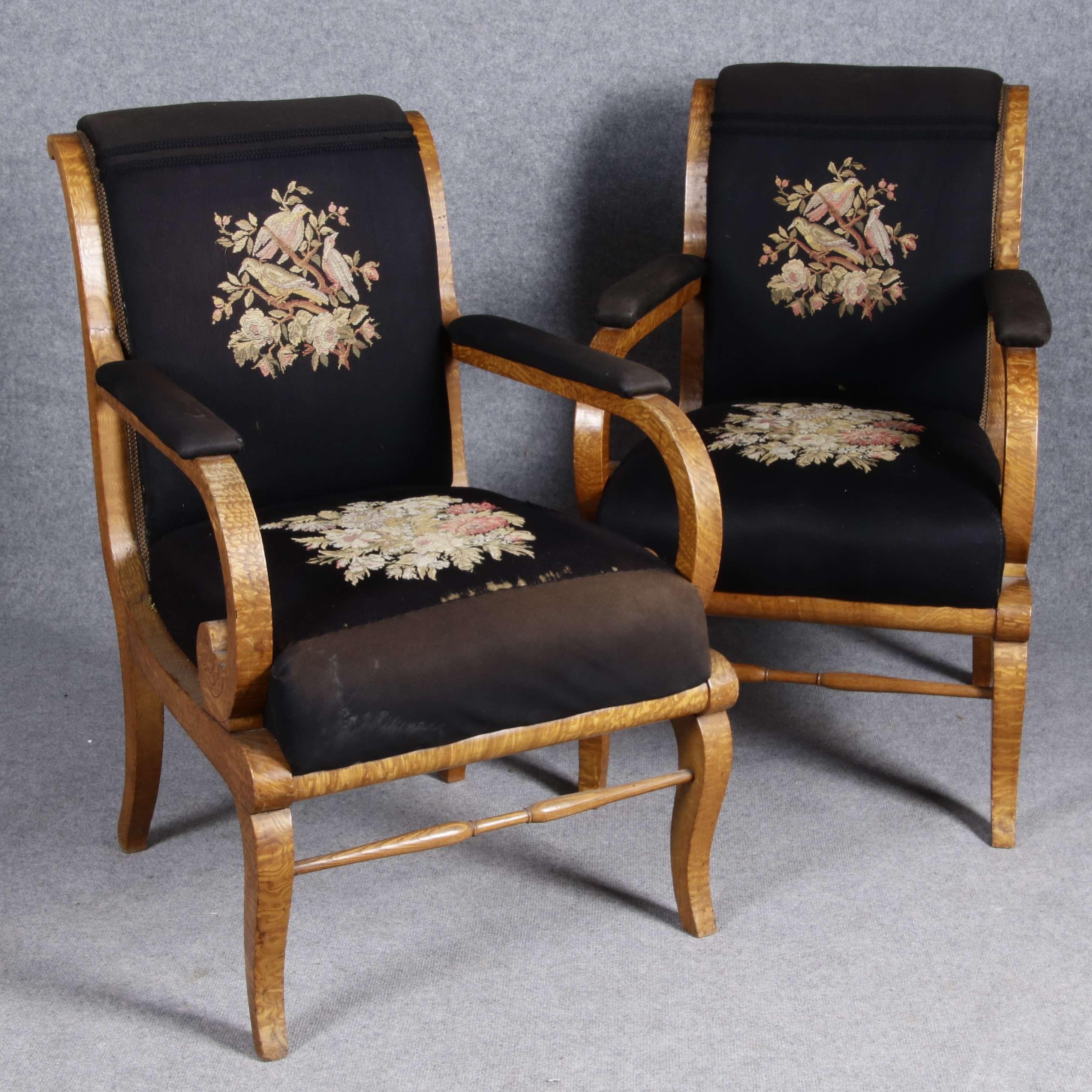 zwei biedermeier sessel um 1820 ebay. Black Bedroom Furniture Sets. Home Design Ideas
