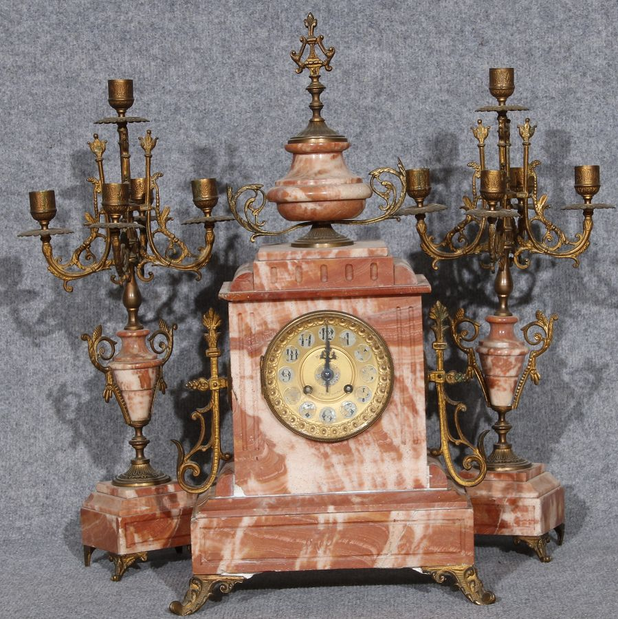 Kaminuhr mit beisteller rosa marmor 19 jh ebay for Uhren skandinavien