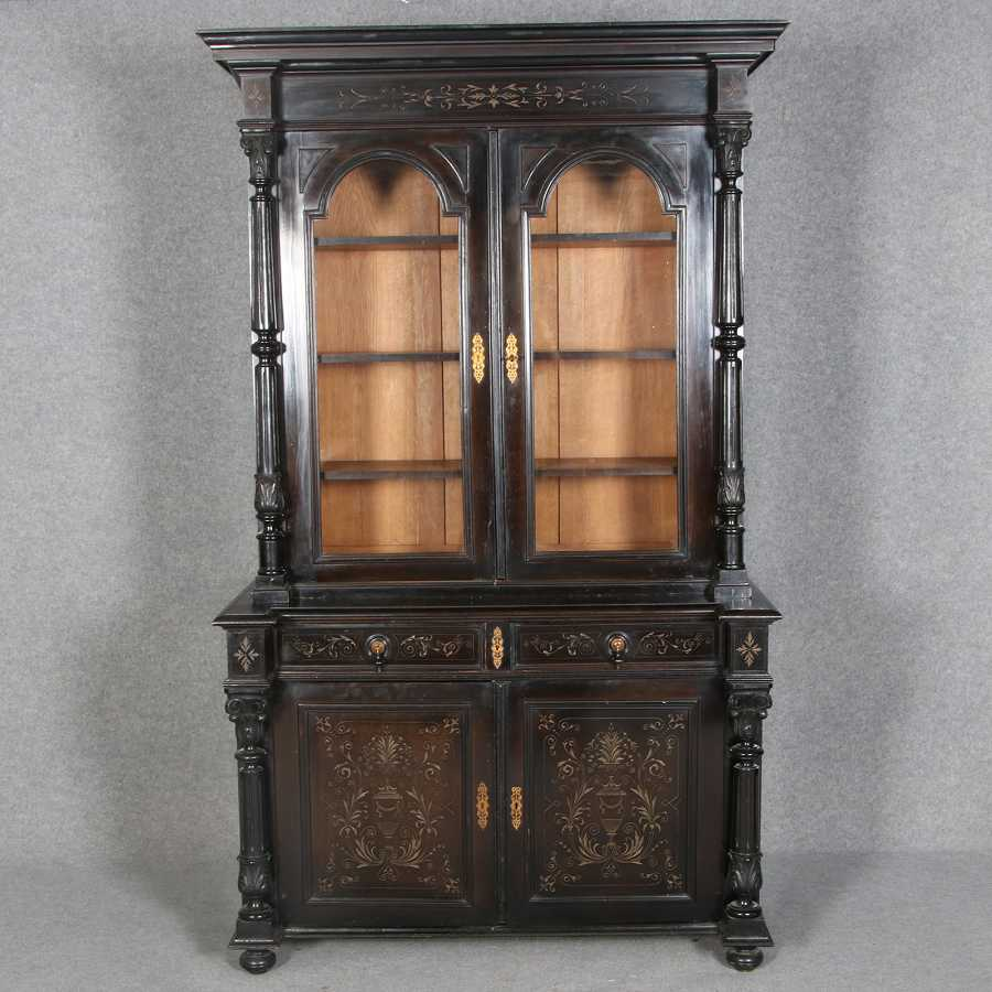 historismus gr nderzeit aufsatzvitrine b cherschrank vitrine schwarz mit s ulen um 1880 1900. Black Bedroom Furniture Sets. Home Design Ideas